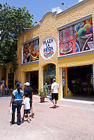 Shopping plaza on Fifth  Avenue or Quinta Avenida in Playa del Carmen, Riviera Maya, Quintana Roo, Mexico