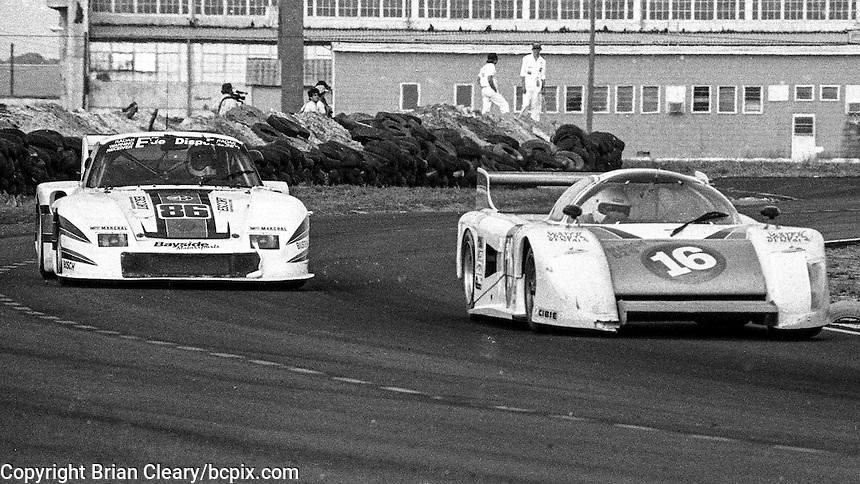 #16 March 82G Chevrolet of Marty Hinze, Randy Lanier, and Terry Wolters (52nd place ) and #86 Porsche 935 of Bruce Leven,  Al Holbert, and Hurley Haywood (3rd place) 12 Hours or Sebring, Sebring International Raceway, Sebring, FL, March 19, 1983.  (Photo by Brian Cleary/bcpix.com)