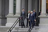 (L-R) White House Senior Adviser Jared Kushner,  Secretary of Homeland Security Kirstjen Nielsen, White House Senior Adviser Stephen Miller, and Vice President Mike Pence exit the Eisenhower Executive Office Building on January 05, 2019 in Washington, DC. The U.S government is going into the third week of a partial shutdown with Republicans and Democrats at odds on agreeing with President Donald Trump's demands for more money to build a wall along the U.S.-Mexico border.  <br /> Credit: Tasos Katopodis / Pool via CNP