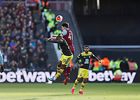 29th February 2020; London Stadium, London, England; English Premier League Football, West Ham United versus Southampton; Declan Rice of West Ham United heads the ball over Michael Obafemi of Southampton