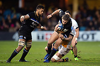 Max Clark of Bath Rugby takes on the Wasps defence. Heineken Champions Cup match, between Bath Rugby and Wasps on January 12, 2019 at the Recreation Ground in Bath, England. Photo by: Patrick Khachfe / Onside Images