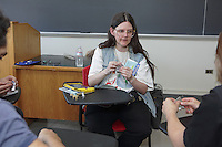 OrigamiUSA 2016 Convention at St. John's University, Queens, New York, USA. Wensdy Whitehead, Massachusetts teaching her design, Dollar Donkey.