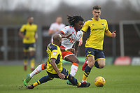 Blackpool's Sessi D'Almeida battles with Oxford United's Dwight Tiendalli<br /> <br /> Photographer Mick Walker/CameraSport<br /> <br /> The EFL Sky Bet League One - Oxford United v Blackpool - Saturday 6th January 2018 - Kassam Stadium - Oxford<br /> <br /> World Copyright &copy; 2018 CameraSport. All rights reserved. 43 Linden Ave. Countesthorpe. Leicester. England. LE8 5PG - Tel: +44 (0) 116 277 4147 - admin@camerasport.com - www.camerasport.com