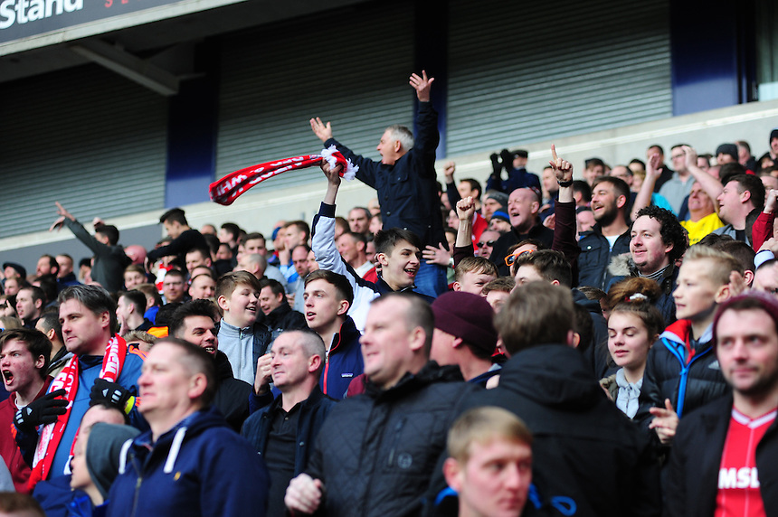 Middlesbrough fans celebrate after Jordan Rhodes scores their sides equalising goal to make the score 1-1<br /> <br /> Photographer Chris Vaughan/CameraSport<br /> <br /> Football - The Football League Sky Bet Championship - Bolton Wanderers v Middlesbrough - Saturday 16th April 2016 - Macron Stadium - Bolton<br /> <br /> &copy; CameraSport - 43 Linden Ave. Countesthorpe. Leicester. England. LE8 5PG - Tel: +44 (0) 116 277 4147 - admin@camerasport.com - www.camerasport.com