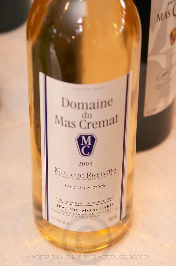 Domaine du Mas Cremat, Muscat de Rivesaltes. Roussillon. France. Europe. Bottle.