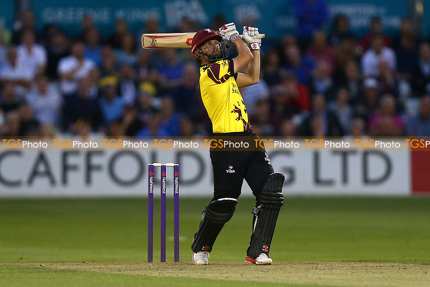 James Hildreh hits six runs for Somerset during Essex Eagles vs Somerset, NatWest T20 Blast Cricket at The Cloudfm County Ground on 13th July 2017