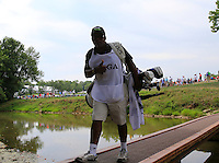 Reggie caddy for Mikko ILONEN (FIN) crosses the footbridge to the 2nd tee during Thursday's Round 1 of the 2014 PGA Championship held at the Valhalla Club, Louisville, Kentucky.: Picture Eoin Clarke, www.golffile.ie: 7th August 2014