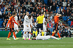 Real Madrid´s Sergio Ramos gets injured during Champions League soccer match between Real Madrid and Shakhtar Donetsk at Santiago Bernabeu stadium in Madrid, Spain. Spetember 15, 2015. (ALTERPHOTOS/Victor Blanco)