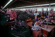 "Perth Amboy, New Jersey, U.S.A, February, 1989. The ""Perfecto"" factory where the famous leather jackets are made. Bomber pilots and Harley-Davidson buffs adopted them, as did James Dean and Elvis Presley. The Perfecto has become a myth."