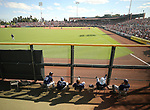 Padres' Colby Blueberg, second from left, sits in the bullpen during a spring training game in Scottsdale, Ariz., on Saturday, March 25, 2017. The San Francisco Giants beat the Padres 8-7. <br />