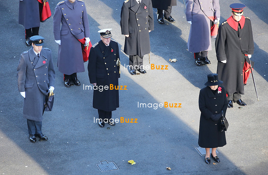 REMEMBRANCE SUNDAY<br /> The Queen together with other members of the Royal Family attended the Remembrance Sunday service at the Cenotaph in London_10/11/2013