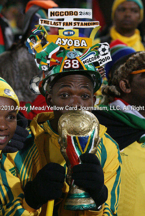 16 JUN 2010: South Africa fan. The South Africa National Team lost 0-3 to the Uruguay National Team at Loftus Versfeld Stadium in Tshwane/Pretoria, South Africa in a 2010 FIFA World Cup Group A match.