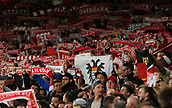 14th September 2017, Emirates Stadium, London, England; UEFA Europa League Group stage, Arsenal versus FC Cologne; FC Koln fans holds scarves and flags up, chanting before kick off