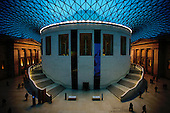 Evening at the British Museum with lit courtyard. The roof structure was designed by Architect Sir Norman Foster