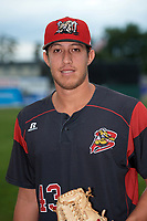 Batavia Muckdogs pitcher Osman Gutierrez (43) poses for a photo before a game against the Auburn Doubledays on September 6, 2017 at Dwyer Stadium in Batavia, New York.  Auburn defeated Batavia 6-3.  (Mike Janes/Four Seam Images)