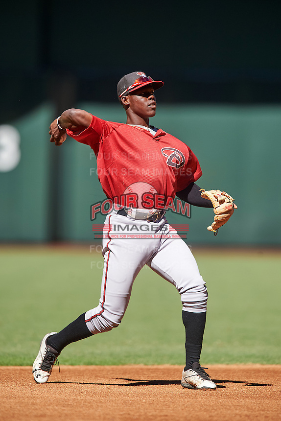 Arizona Diamondbacks Jasrado Chisholm (2) during an Instructional League game against the Oakland Athletics on October 15, 2016 at Chase Field in Phoenix, Arizona.  (Mike Janes/Four Seam Images)