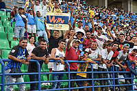 MONTERIA - COLOMBIA, 01-05-2019: Hinchas de Jaguares animan a su equipo durante el partido por la fecha 19 de la Liga Águila I 2019 entre Jaguares de Córdoba F.C. y La Equidad jugado en el estadio Jaraguay de la ciudad de Montería. / Fans of Jaguares cheer for their team during match for the date 19 as part Aguila League I 2019 between Jaguares de Cordoba F.C. and La Equidad played at Jaraguay stadium in Monteria city. Photo: VizzorImage / Andres Felipe Lopez / Cont