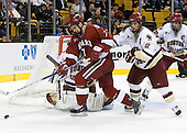 Mike Brennan (Boston College - Smithtown, NY) gets his stick on Ryan Maki (Harvard University - Shelby Township, MI). The Boston College Eagles defeated the Harvard University Crimson 3-1 in the first round of the 2007 Beanpot Tournament on Monday, February 5, 2007, at the TD Banknorth Garden in Boston, Massachusetts.  The first Beanpot Tournament was played in December 1952 with the scheduling moved to the first two Mondays of February in its sixth year.  The tournament is played between Boston College, Boston University, Harvard University and Northeastern University with the first round matchups alternating each year.