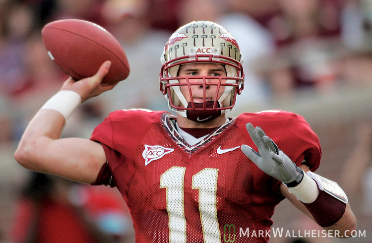 Florida State Seminoles quarterback Drew Weatherford (11) passes in the Seminoles loss to the North Carolina State Wolfpack 20-15 in Tallahassee, Florida November 5, 2005.
