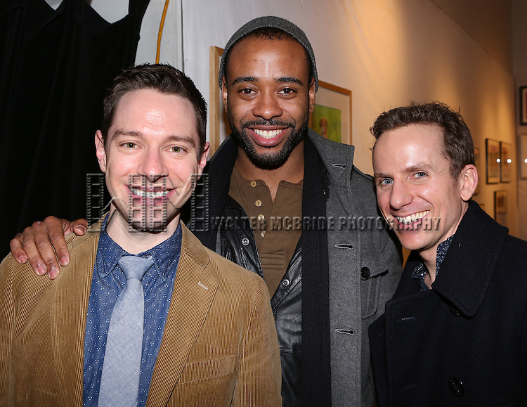 Tim Federle, James Brown III and Jason Snow attend Tim Federle's book party for 'Five, Six, Seven, Nate!' at Books of Wonder on January 27, 2014 in New York City.