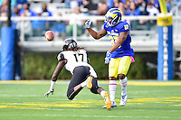 Newark, DE - OCT 29, 2016: Towson Tigers cornerback Justice Pettus-Dixon (17) knocks down a pass against Delaware Fightin Blue Hens wide receiver Diante Cherry (80) during game between Towson and Delaware at Delaware Stadium Tubby Raymond Field in Newark, DE. (Photo by Phil Peters/Media Images International)