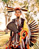 USA, Arizona, Holbrook, Navajo boy in traditional clothing