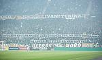 Solna 2015-10-04 Fotboll Allsvenskan AIK - Malm&ouml; FF :  <br /> AIK:s supportrar med banderoll banderoller med texten &quot; Utpl&aring;na Cecilia Hagen fr&aring;n jordens yta , med detsamma , Vi lovar att titta p&aring; n&auml;r det sker  &quot; under matchen mellan AIK och Malm&ouml; FF <br /> (Foto: Kenta J&ouml;nsson) Nyckelord:  AIK Gnaget Friends Arena Allsvenskan Malm&ouml; MFF supporter fans publik supporters Cecilia Hagen