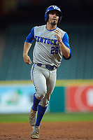 Kentucky Wildcats Luke Heyer (26) jogs around the bases after a home run against the Houston Cougars in game two of the 2018 Shriners Hospitals for Children College Classic at Minute Maid Park on March 2, 2018 in Houston, Texas.  The Wildcats defeated the Cougars 14-2 in 7 innings.   (Brian Westerholt/Four Seam Images)