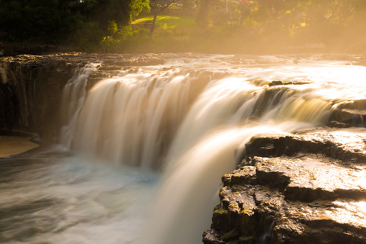 Late afternoon light at Haruru Falls, Bay of Islands, New Zealand - stock photo, canvas, fine art print