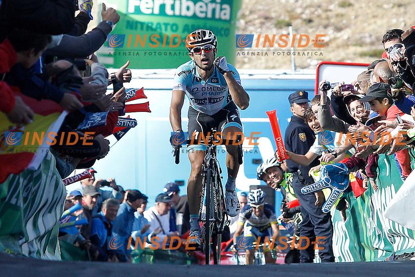 Dario Cataldo comes to the finish winner of the stage of La Vuelta 2012 between Gijon and Valgrande-Pajares (Cuitu Negru) in presence of Thomas De Gendt, second classified.September 3,2012. (ALTERPHOTOS/Acero) .3/9/2012 Ciclismo - Vuelta.Foto Insidefoto/Alterphotos