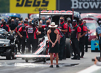 Jul 18, 2020; Clermont, Indiana, USA; Kay Torrence, mother of NHRA top fuel driver Steve Torrence during qualifying for the Summernationals at Lucas Oil Raceway. Mandatory Credit: Mark J. Rebilas-USA TODAY Sports