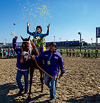 November 3, 2018 : Connections for Stormy Liberal #9, ridden by Drayden Van Dyke, winner of the Breeders' Cup Turf Sprint in the winners circle on Breeders Cup World Championships Saturday at Churchill Downs on November 3, 2018 in Louisville, Kentucky. Bill Denver /Eclipse Sportswire/CSM