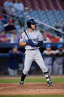 Hudson Valley Renegades third baseman Tyler Frank (5) at bat during a game against the Connecticut Tigers on August 20, 2018 at Dodd Stadium in Norwich, Connecticut.  Hudson Valley defeated Connecticut 3-1.  (Mike Janes/Four Seam Images)