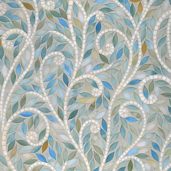 Climbing Vine, waterjet jewel glass mosaic, shown in Aquamarine and Quartz Jewel glass.