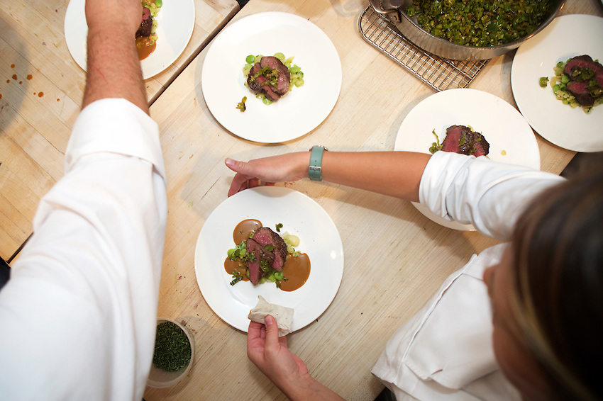 New York, NY - August 24, 2016:  Chef Kyle Koenig and the team from Craft present dinner at the James Beard House in Greenwich Village. <br /> CREDIT: Clay Williams for The James Beard Foundation.<br /> <br /> &copy; Clay Williams / claywilliamsphoto.com