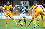 Motherwell v St Johnstone&hellip;13.08.16..  Fir Park<br />Chris Kane gets between Joe Chalmers and Stephen McManus<br />Picture by Graeme Hart.<br />Copyright Perthshire Picture Agency<br />Tel: 01738 623350  Mobile: 07990 594431