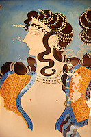Arthur Evans reconstruction of Dancing girl fresco from the Queen's megaron at Knossos. Knossos Minoan archaeological site, Crete