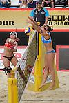 30.05.2015, Moskau, Vodny Stadion<br /> Moskau Grand Slam, Main Draw / Halbfinale<br /> <br /> Angriff Marleen van Iersel (#1 NED) - Block Viktoria Orsi Toth (#2 ITA)<br /> <br />   Foto &copy; nordphoto / Kurth