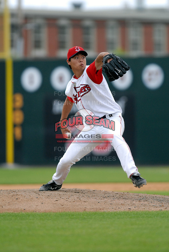 RHP Wang-Yi Lin of the Lowell Spinners, the short season NY-P affiliate of the Boston Red Sox ,at LeLacheur Field in Lowell, MA on August 9, 2009. (Photo by Ken Babbitt/Four Seam Images)