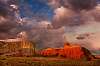 792800319 red sandstone formations below a clearing summer thunderstorm at sunset in kodachrome basin state park utah united states