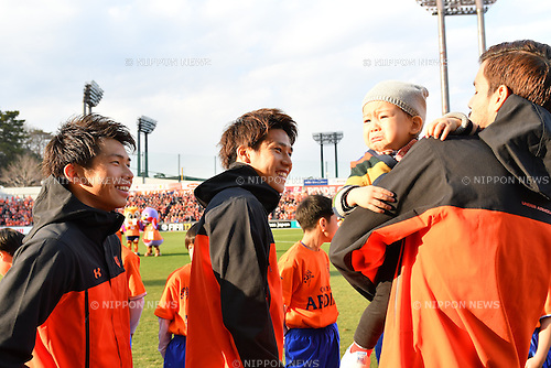 (L-R) Yusuke Segawa, Ataru Esaka, Ariajasuru Hasegawa (Ardija),<br /> FEBRUARY 25, 2017 - Football / Soccer :<br /> Yusuke Segawa, Ataru Esaka and Ariajasuru Hasegawa of Omiya Ardija before the 2017 J1 League match between Omiya Ardija 0-2 Kawasaki Frontale at NACK5 Stadium Omiya in Saitama, Japan. (Photo by AFLO)