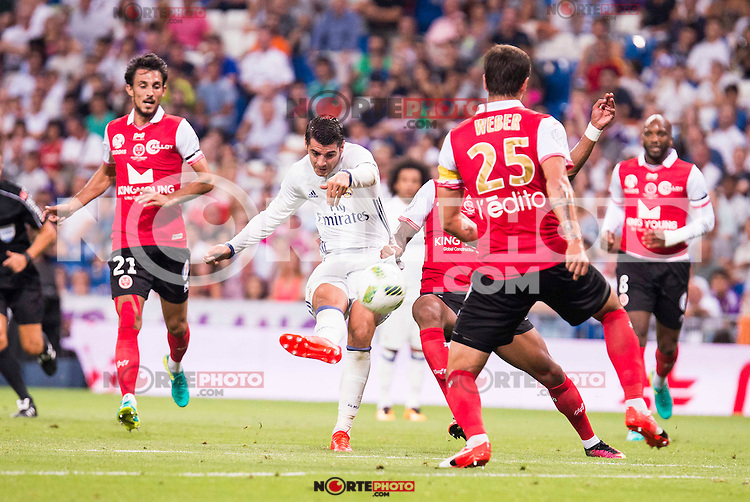 Real Madrid's player Alvaro Morata and Stade de Reims's player Rodriguez, and Weber during the XXXVII Santiago Bernabeu Trophy in Madrid. August 16, Spain. 2016. (ALTERPHOTOS/BorjaB.Hojas) /NORTEPHOTO