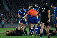 NZ's Ofa Tuungafasi, France's Remi Grosso and NZ's Sam Cane go down after a head collision during the Steinlager Series international rugby match between teh New Zealand All Blacks and France at Eden Park in Auckland, New Zealand on Saturday, 9 June 2018. Photo: Dave Lintott / lintottphoto.co.nz