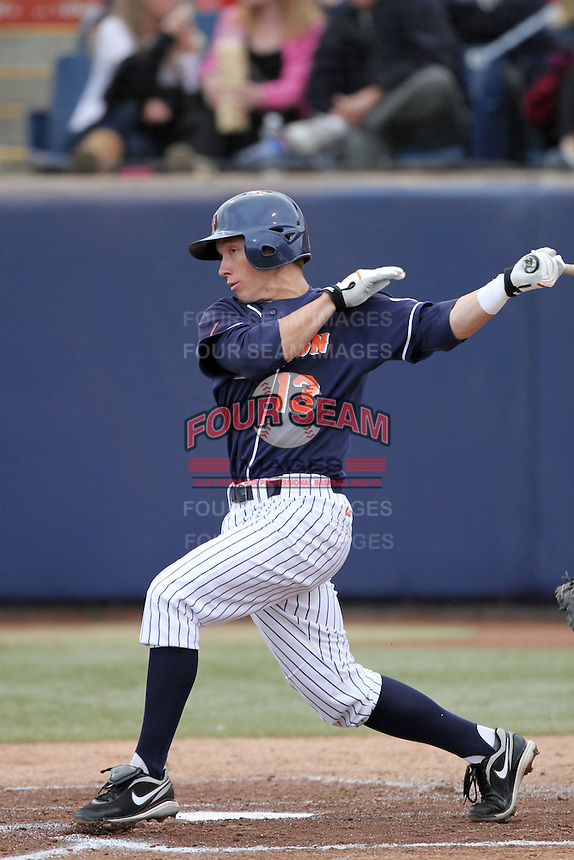Blake Barber #13 of the Cal. St. Fullerton Titans bats against the Cal. St. Long Beach 49'ers at Goodwin Field in Fullerton,California on May 14, 2011. Photo by Larry Goren/Four Seam Images