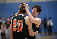 #20 Austin DeWitz and #21 Caleb Yellin-Flaherty<br /> The Occidental College men's basketball team plays against Pomona-Pitzer in the SCIAC Tournament Championship on Saturday, Feb. 23, 2019 in Claremont. Oxy lost, 68-45.<br /> Oxy finishes with its best overall record since 2007-08 at 22-5 overall, and went 12-4 in SCIAC play for the second season in a row.<br /> (Photo by Marc Campos, Occidental College Photographer)