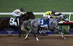 DEL MAR, CA - NOVEMBER 03: Destin #3, ridden by John Velazquez, wins the Las Vegas Marathon Stakes in front of Destin #3, ridden by John Velazquez, on Day 1 of the 2017 Breeders' Cup World Championships at Del Mar Thoroughbred Club on November 3, 2017 in Del Mar, California. (Photo by Kazushi Ishida/Eclipse Sportswire/Breeders Cup)