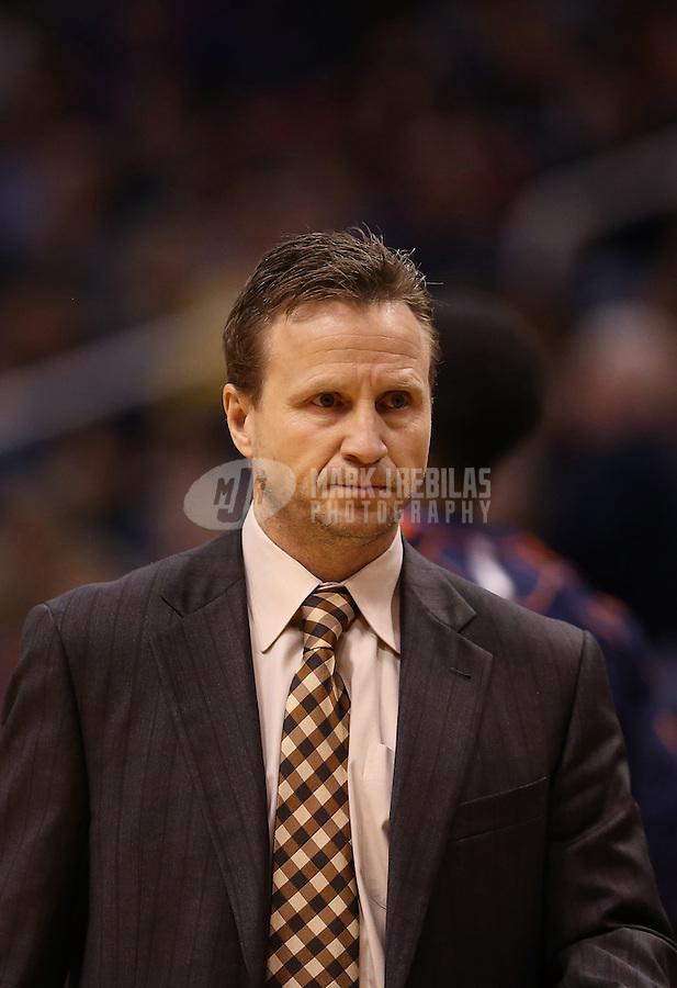 Feb. 10, 2013; Phoenix, AZ, USA: Oklahoma City Thunder head coach Scott Brooks against the Phoenix Suns at the US Airways Center. Mandatory Credit: Mark J. Rebilas-