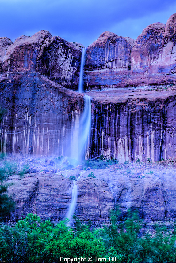 Flashflood waterfalls,  Colorado River, Utah, Near Moab, Runoff from heavy monsoon thunderstorms