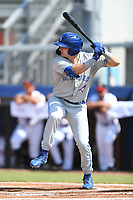 Spencer Horwitz (3) of the Bluefield Blue Jays at bat during a game against the Danville Braves at American Legion Post 325 Field on July 28, 2019 in Danville, Virginia. The Blue Jays defeated the Braves 9-7. (Tracy Proffitt/Four Seam Images)