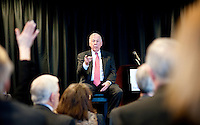 Wind and natural gas proponent T. Boone Pickens (cq) speaks to a crowd at a luncheon for one of his foundations, Big Brothers Big Sisters of Dallas, in Dallas, Texas, US, Tuesday, Jan., 12, 2009. Pickens is outspoken in his claim that replacing our dependency on oil with US produced natural gas is a matter of national security...PHOTOS/ MATT NAGER